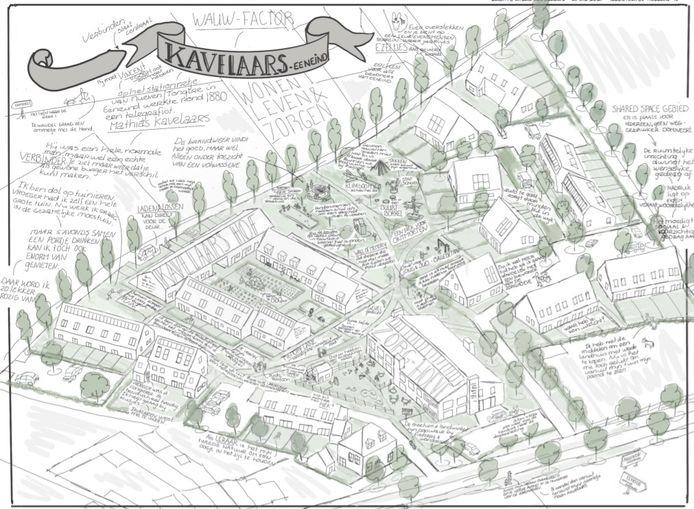Een schets van het nieuwe wijkje Kavelaars, dat aan de westkant van de wijk Eeneind in Nuenen komt.