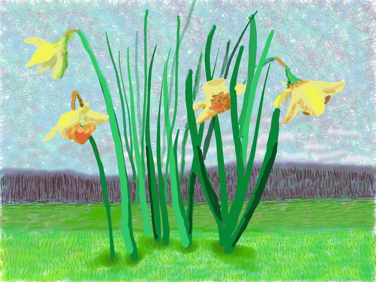 """""""Do remember they can't cancel the Spring"""" (2020)  Beeld © David Hockney"""