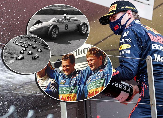 Max Verstappen viert de historische zege in Monaco. Inzetjes: de eerste GP in Zandvoort, de podiumplek van Jos Verstappen en coureur Carel Godin de Beaufort.