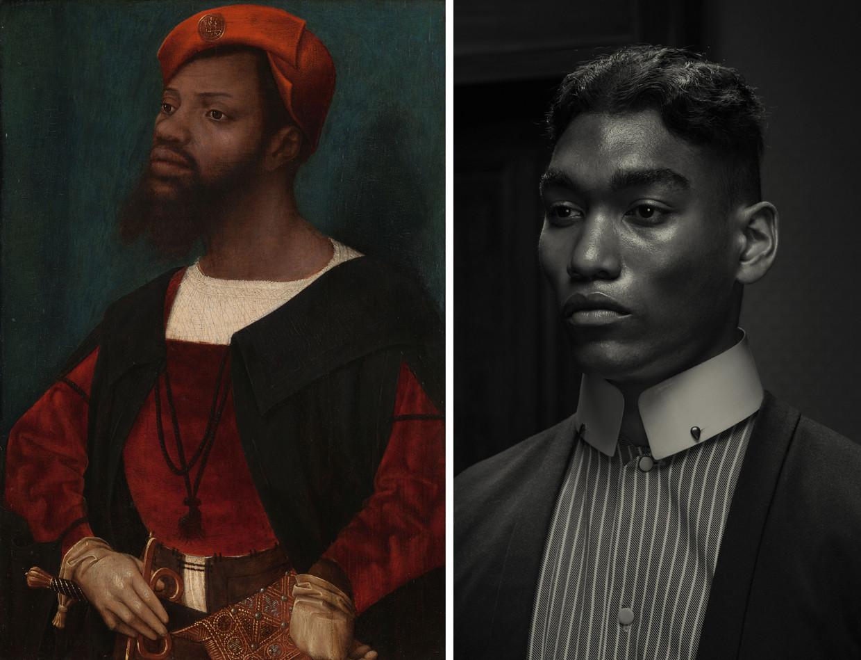 Jan Jansz Mostaerts 'Portret van een Afrikaanse man' en Erwin Olafs 'Portrait 1, from the Dusk series'. Beeld Rijksmuseum