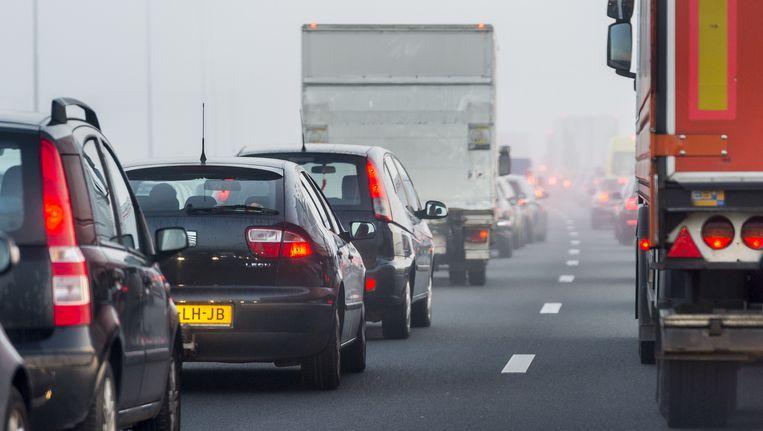 Auto's die via de A4/A44 naar de Keukenhof willen, moeten rekening houden met een fikse vertraging Beeld anp