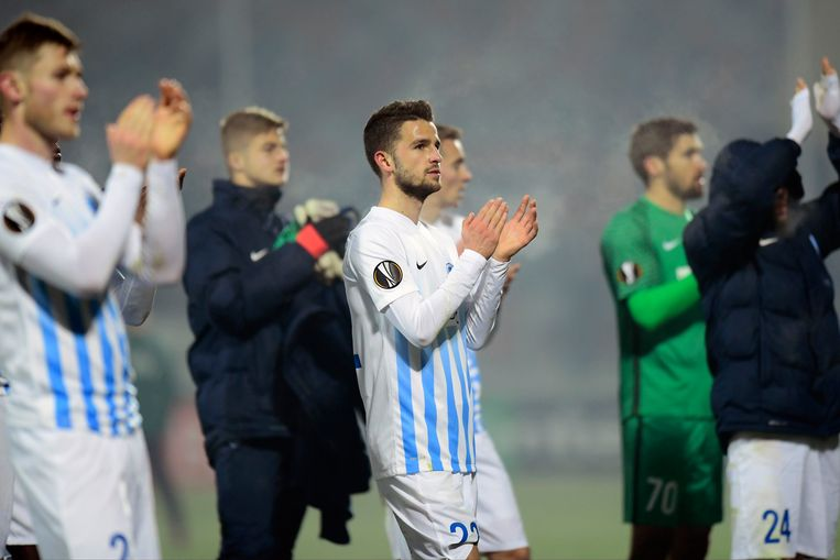 GIURGIU, ROMANIA - FEBRUARY 16 : Siebe Schrijvers forward of KRC Genk looks dejected on the final whistle after the draw during the UEFA Europa League, Round of 32, 1st leg match between FC Astra Giurgiu and KRC Genk at the Marin Anastasovici stadium on February 16, 2017 in Giurgiu, Romania, 16/02/2017 ( Photo by Nico Vereecken / Photonews Beeld null