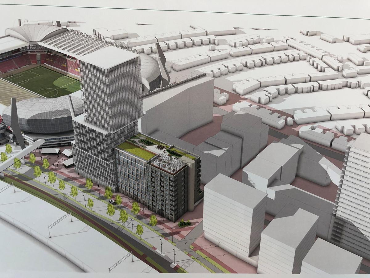 Het oudere ontwerp voor Eurostaete, naast het PSV-stadion in Eindhoven. Rechts zijn ook de drie blokken te zien die Spoorzone BV wil bouwen op het nu braakliggende veld bovenop de parkeergarage aan de PSV-laan. Achter de nieuwbouw de bestaand appartementencomplexen van Hartje Eindhoven aan de Frederiklaan.