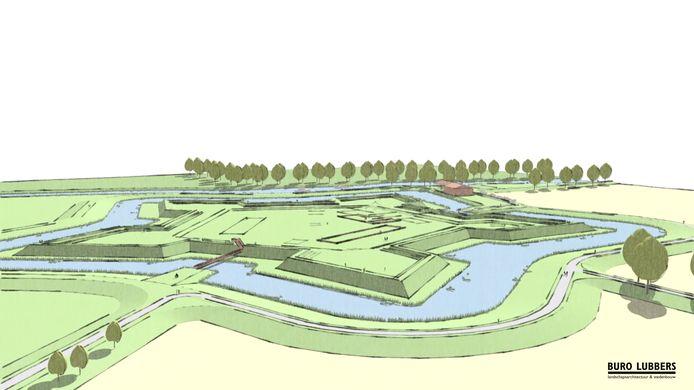Artist's impression van hoe Fort Henricus in Steenbergen er uit kan komen te zien.