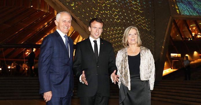 Emmanuel Macron met premier Malcolm Turnbull en zijn vrouw Lucy.