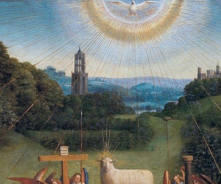 Van mevr. Els Diekerhof, uit: Het Lam Gods, Jan van Eyck, 1432, detail van de Utrechtse Domtoren in de bergen, Gent Beeld Sint-Baafskathedraal, Gent