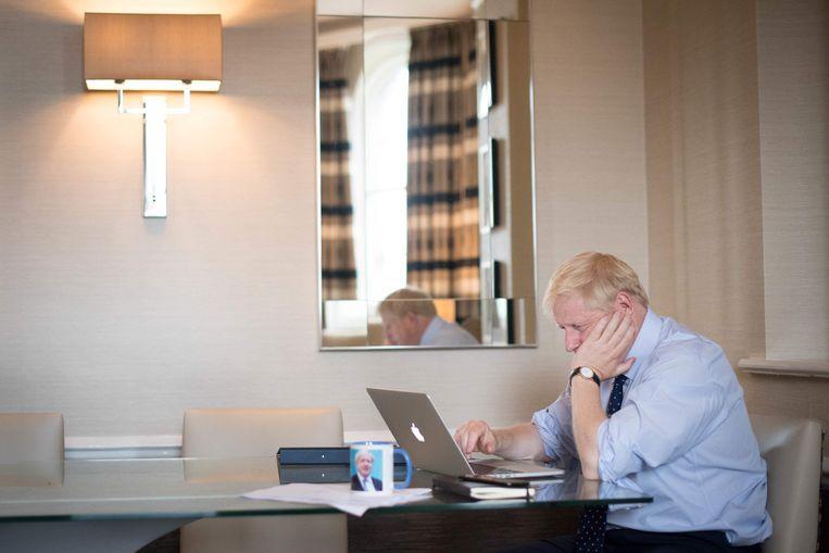 Boris Johnson in Manchester. Beeld AFP