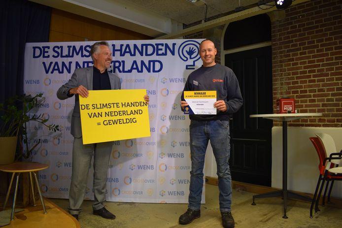 Marcel Eenhoorn van Alliander/Qirion bij de uitreiking van De Slimste Handen van Nederland 2020.