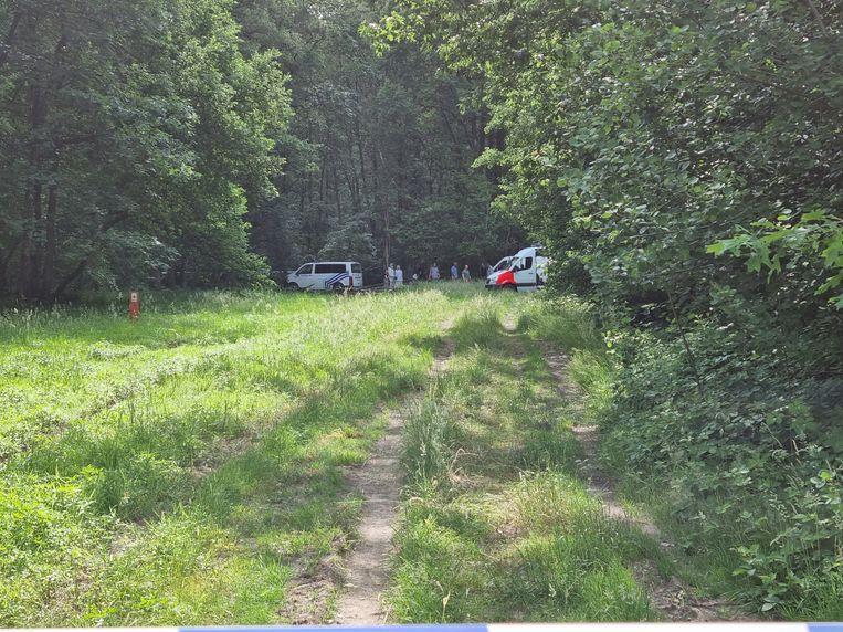 Politie vlak bij de plek waar het lichaam van Jürgen Conings werd gevonden. Beeld PINO MISURACA/BELGA