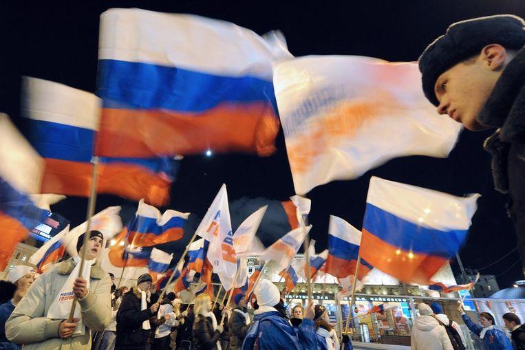 Protest in Moskou, afgelopen dinsdag. Beeld afp
