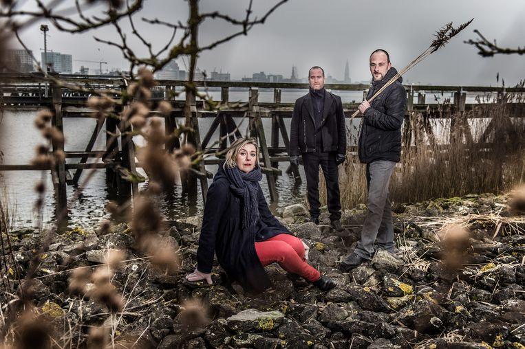 Sofie Decleir, Jorgen Cassier en Koen van Kaam van Theater Zuidpool in Antwerpen. Beeld Jonas Roosens