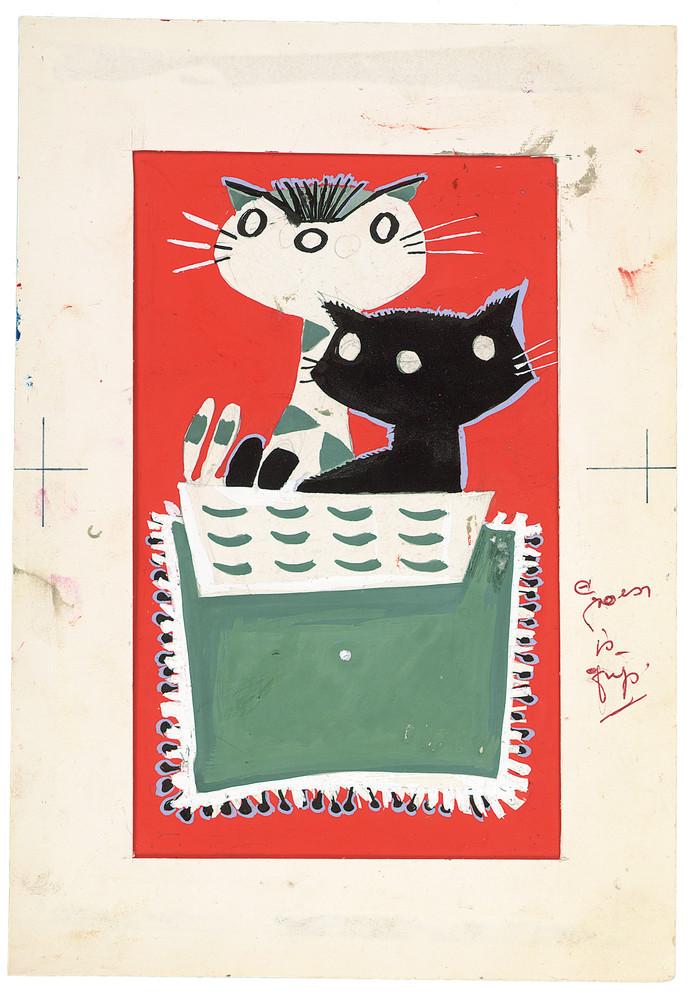 De tekening van Pim en Pom uit 1959, gemaakt met potlood, inkt, penseel, plakkaatverf op papier.