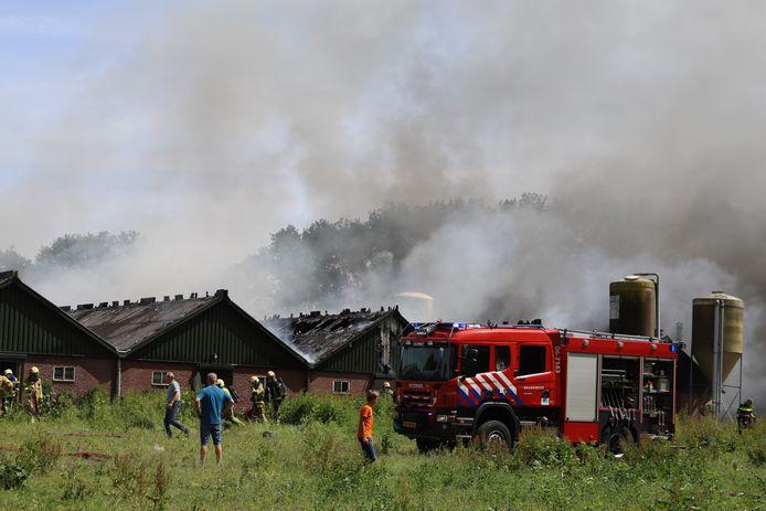 Bij een stalbrand in Elspeet zijn vanmiddag drie stallen volledig uitgebrand.