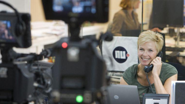 Anita Witzier trapte maandagochtend om 9.00 de Donorweek af op de redactie van Nu.nl. Foto ANP Beeld