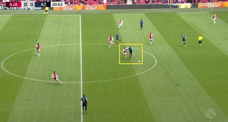 In de eerste minuut laat Martínez al zien Boadu op snelheid bij te kunnen houden. Beeld Screenshot ESPN