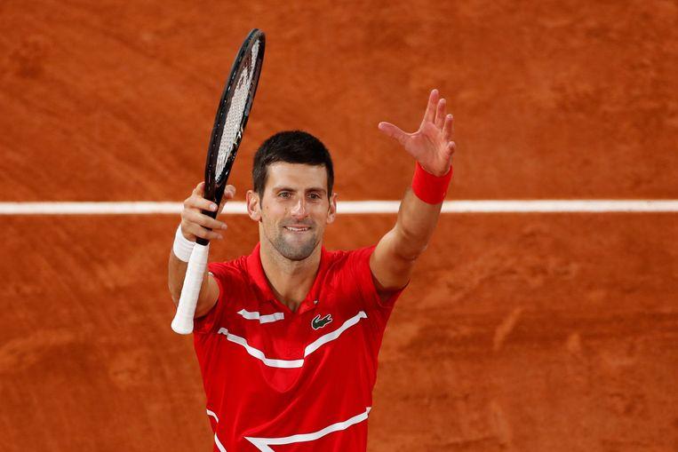 Novak Djokovic speelt zondag de finale tegen Rafael Nadal. Beeld REUTERS