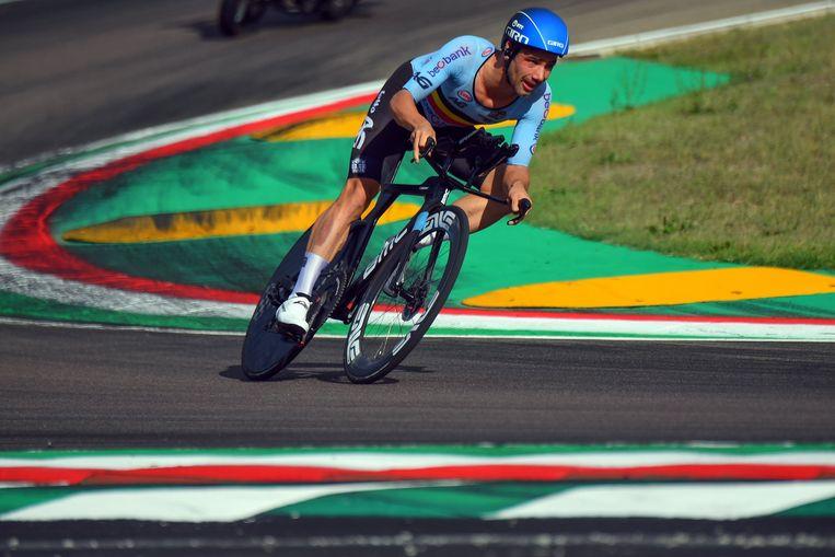 Victor Campenaerts op het WK, waar hij met een achtste plaats in de tijdrit onder zijn verwachtingen bleef. Beeld Photo News