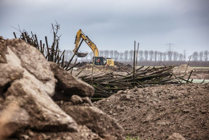 De voorbereidingen voor het Logistiek Park Moerdijk zijn in volle gang. Bergen zand en klei verkleinen het zicht op de omliggende polders.