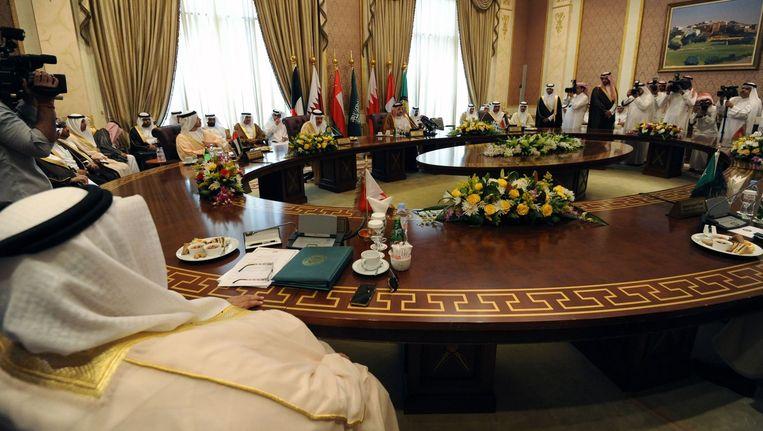 De ministers van Buitenlandse Zaken uit de golfstaten namen gisteren deel aan een vergadering in de Saoedische hoofdstad Riyad over de toestand in Jemen. Beeld AFP