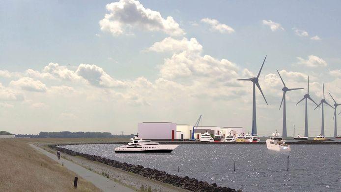 Het plan voor de buitendijkse haven bij Urk.