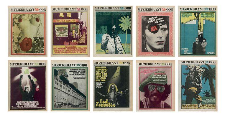 Covers van Oor, toen nog Muziekkrant Oor, uit 1973. Beeld