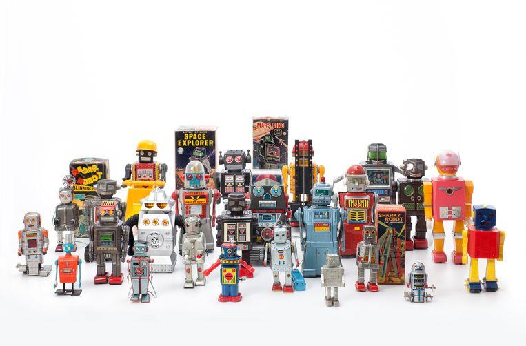 Vintage robotspeelgoed in 'Hello, Robot'. Beeld rv Andreas Sütterlin