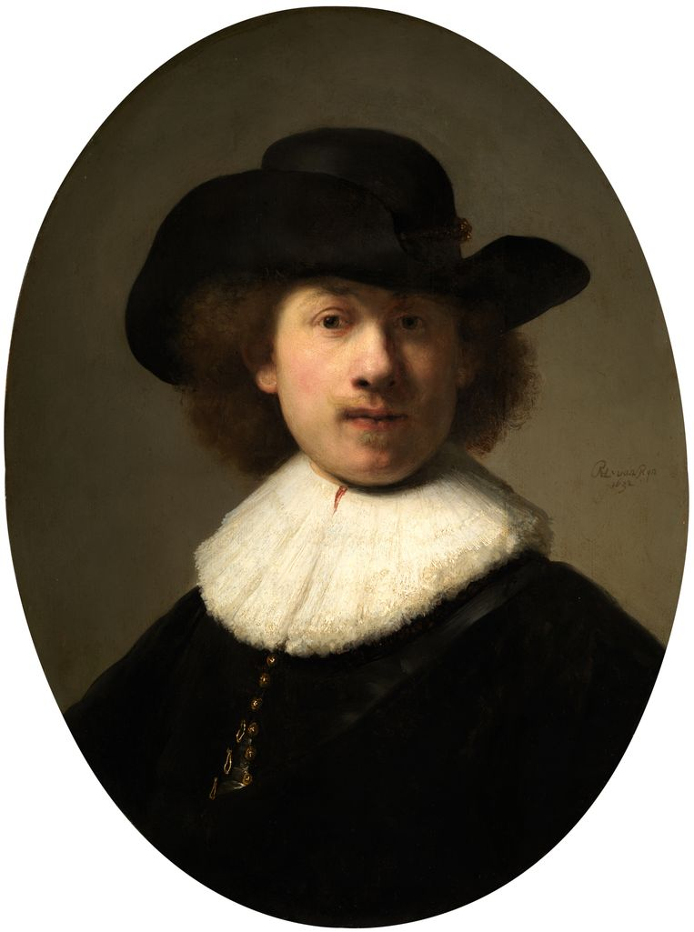 Rembrandt van Rijn, Zelfportret, 1632, olieverf op paneel. Geschonken door Sir William en Lady Burrell aan de stad Glasgow. Beeld Burrell Collection Glasgow