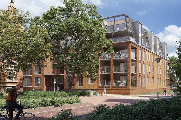 Impressie van het toekomstige woongebouw op de plek van het GAK-kantoor.