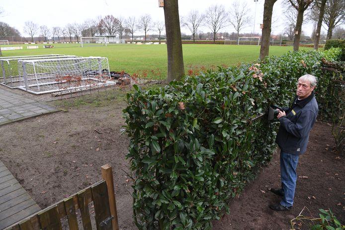 Ad Sebregts is terreinknecht en manusje van alles bij SvSOS en heeft de sporters vanwege corona al een hele tijd moeten missen. Zijn tuin grenst aan die van zijn favoriete voetbalclub.