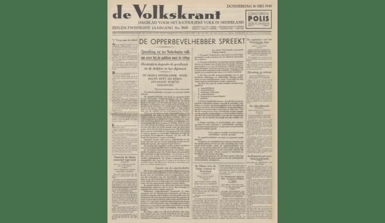 De Volkskrant van 16 mei 1940. Beeld de Volkskrant