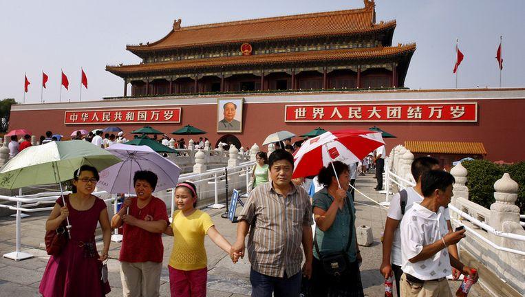 Het Plein van de Hemelse Vrede in Peking zal het centrum zijn van de vieringen. Hoogtepunt is een militaire parade die wordt gevolgd door een optocht van minstens tweehonderdduizend mensen langs het portret van Mao. Foto ANP Beeld