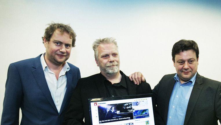 De Newsmonkey-oprichters Wouter Verschelden, Mick Van Loon en Patrick Van Waeyenberge. Die laatste is intussen al opgestapt. Beeld tim dirven