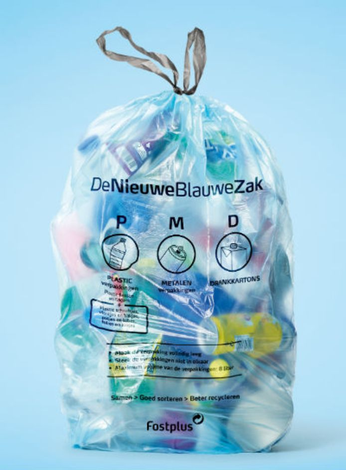 De nieuwe blauwe pmd-zak.