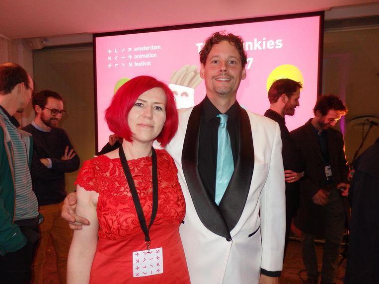 Voormalig Klikdirecteur Yvonne van Ulden en showhost Roloff de Jeu Beeld Schuim