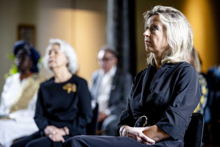 Demissionair minister van Binnenlandse Zaken en Koninkrijksrelaties Kajsa Ollongren tijdens de presentatie van het rapport 'Ketenen van het Verleden'. Beeld ANP