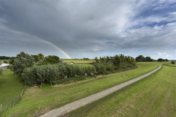 Uitzicht op de IJsseldijk en het achterliggende rivierlandschap.