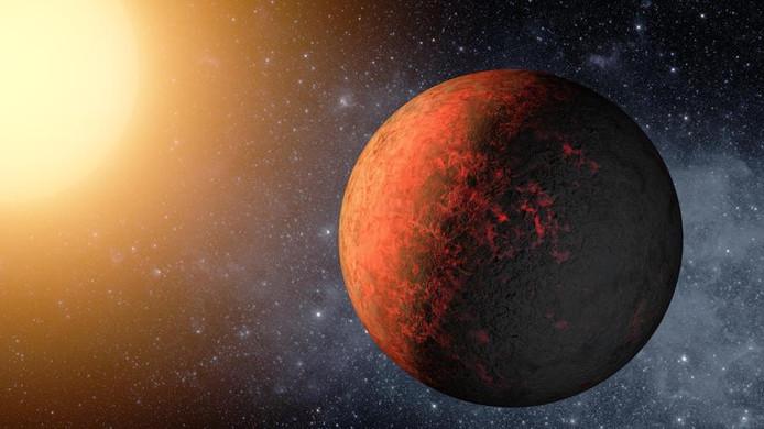 Illustratie van de net ontdekte Kepler-20e, een planeet die ongeveer even groot is als de Aarde.