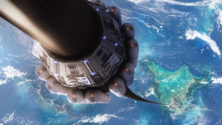 Moet kunnen: een lift naar de ruimte en terug. Beeld Youtube