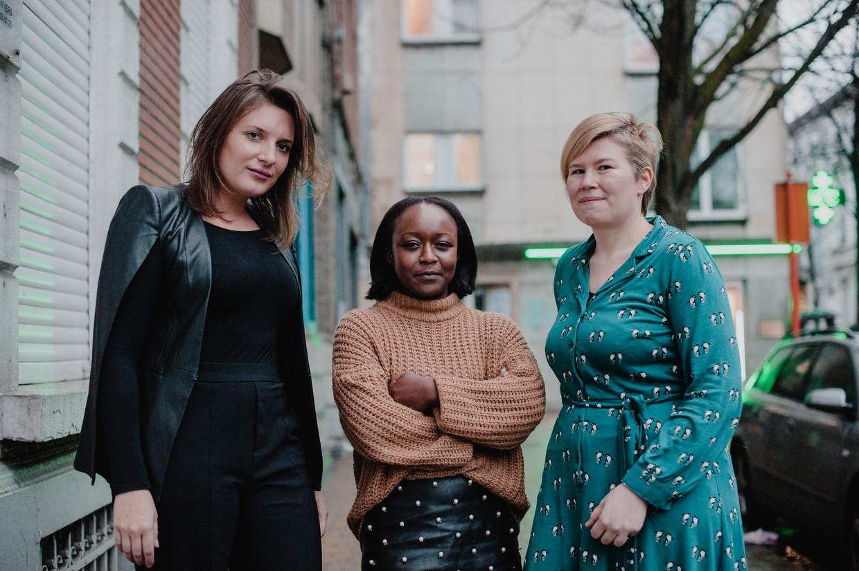 Advocaten Issabel De Fré, Crépine Uwashema en Mieke Van den Broeck: 'Er is veel haantjesgedrag, status is belangrijk. Op feestjes zijn er seksistische moppen en commentaar.' Beeld Daniil Lavrovski