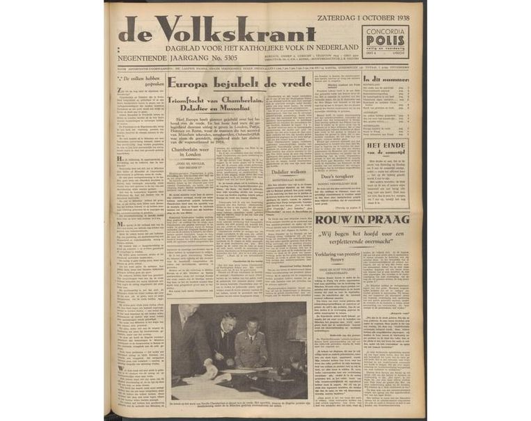 Voorpagina van de Volkskrant op 1 oktober 1938. Beeld VK