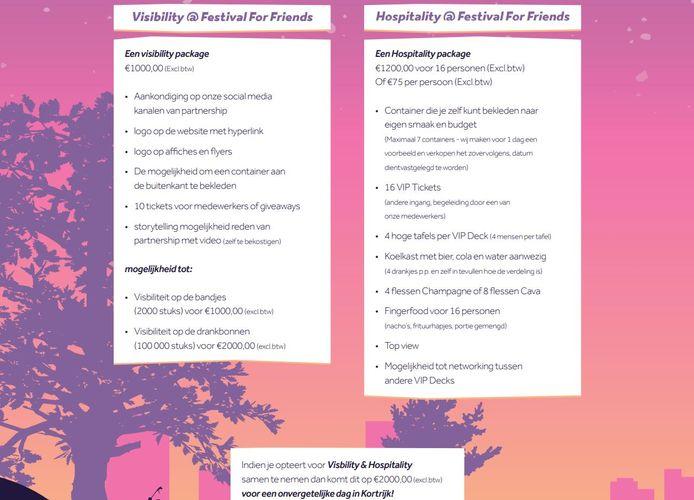 Er zijn interessante formules, voor wie partner wil worden van Festival For Friends