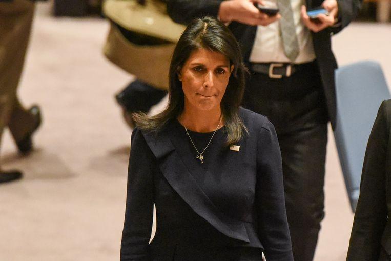 De Amerikaanse ambassadeur bij de VN, Nikki Haley. Beeld AFP