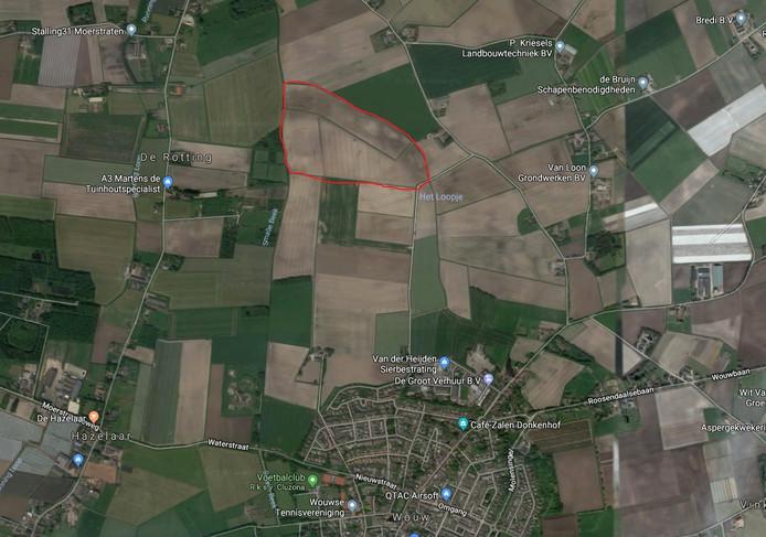 De beoogde locatie van het zonnepark in Wouw.