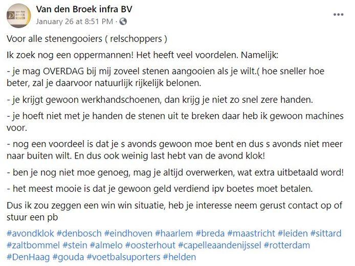 De oproep op Facebook van Wesley van den Broek.