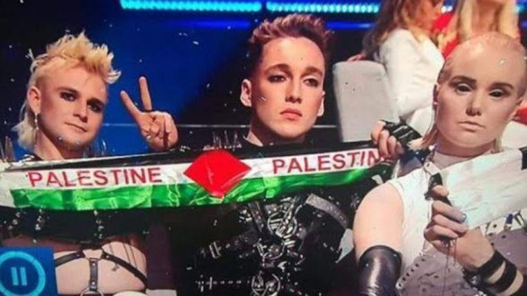 IJsland protesteert tijdens het songfestival in Tel Aviv. Beeld