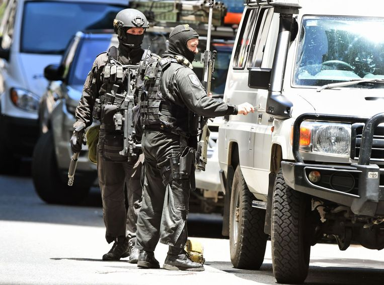 Scherpschutters van de Australische politie in de omgeving van de gijzeling Beeld afp