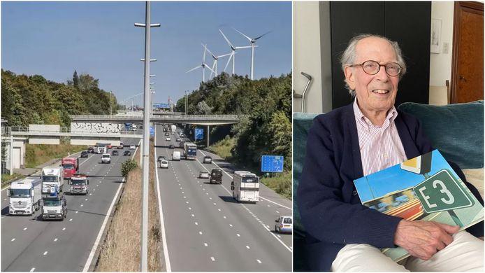 Links de E17, ter hoogte van Kortrijk. Rechts Antoon Noë uit Oedelem, die destijds de hoofdingenieur was tijdens de aanleg van de E17