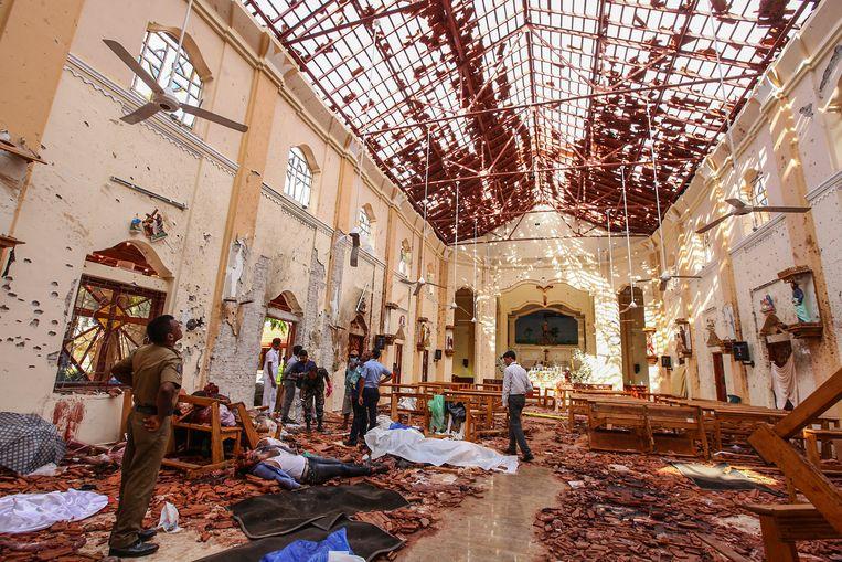 Sint Sebastiaanskerk in Negombo, ten noorden van Colombo.  Beeld AP