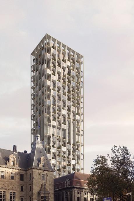 Bouw 155 meter hoge toren op oude postkantoor start volgend jaar