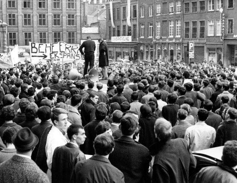 Actie voor Leuven Vlaams in Leuven op 8 maart 1968. Beeld BELGAIMAGE